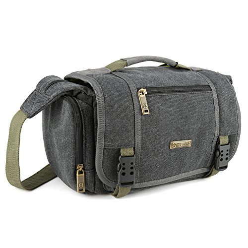 35cf294b716e Evecase Large Vintage Canvas Messenger SLR Camera case bag with Shoulder  Strap for Canon Nikon Sony Panasonic FujiFilm Olympus Pentax and more DSLR  Camera- ...